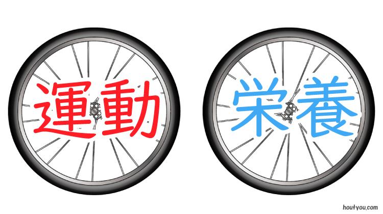 運動と栄養の両輪。自転車の車輪のイラスト。