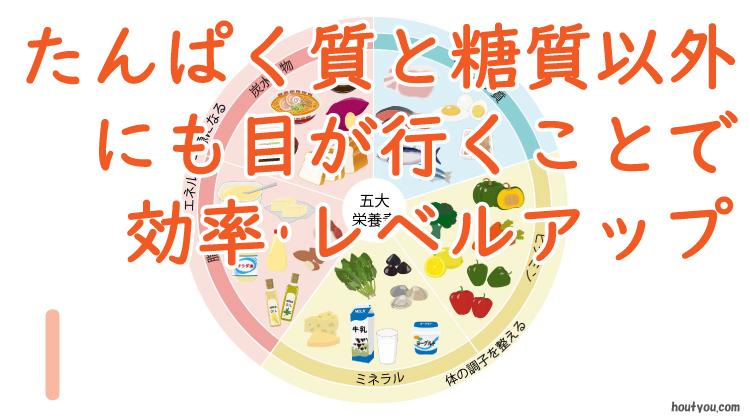 五大栄養素のイラスト図。「たんぱく質と糖質以外にも目が行くことで効率・レベルアップ」」